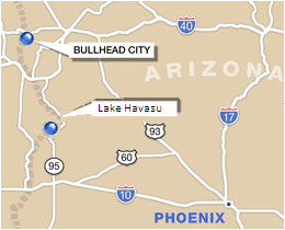 Map of locations for Mountain View Tax Service & Accounting in Bullhead City and Lake Havasu City